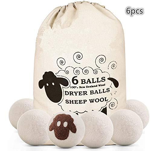 NA Bolas de Secadora de Lana, Bolas de Secadora hipoalergénicas, Reutilizable, Secado más rápido, Reducción estática y Suavizante de Telas Naturales Paquete de 6 XL