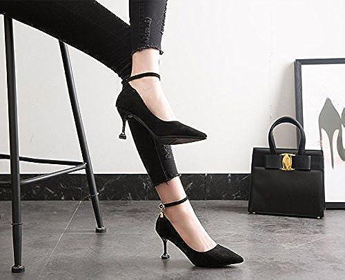 MDRW-Dame élégante Travail Loisirs Printemps Le Mot 7Cm Avec Des Talons Hauts Bouche Peu Profonde Des Chaussures Très Bien Avec Les Chaussures Tous-Match Chat Avec Des Chaussures Noires