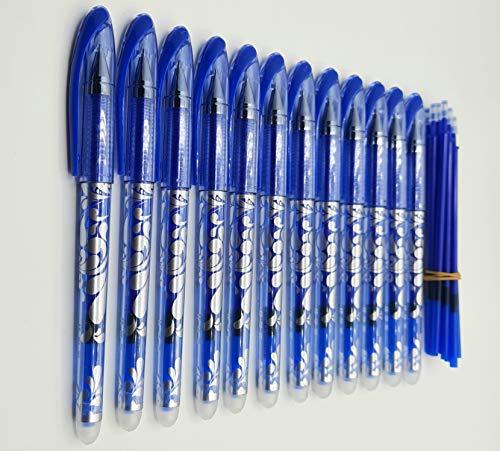 Radierbare Stifte, 42 Stück, Gelschreiber, 0,5 mm, 12 Stück, blau + 30 Nachfüllminen, geeignet für Schule und Büro