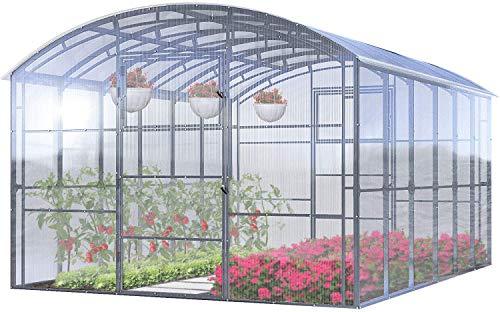 Invernadero Jardín Ruby Pro 3x4 Metros 12 M² Policarbonato Transparente 4mm, Marco Acero, Varios Modelos y Tamaños, Ideal Huerto Plantas y Cultivos