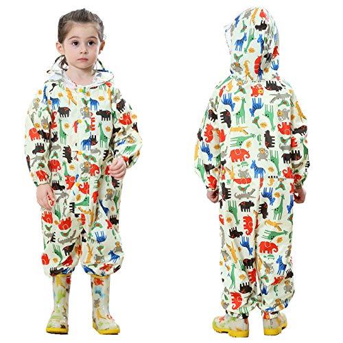 TURMIN Kinder Regenmantel mit Kapuze Mädchen Jungen Wasserdicht Regenanzug All in One Süß Muster Regenjacke Regenbekleidung Regen Poncho für Grundschüler Jungen Mädchen-Gelb-S