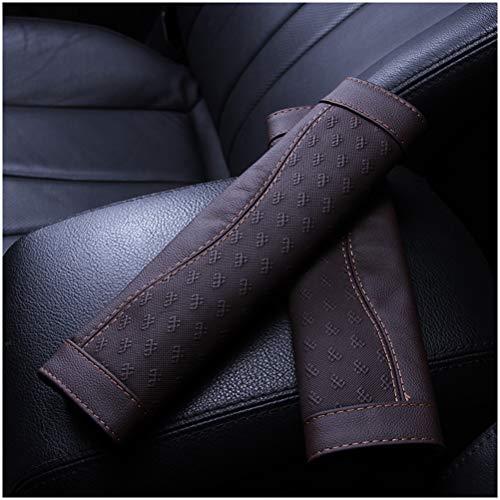 GAOJIAN Almohadilla Cinturon Coche Cuero Protector de Hombro del cinturón de Seguridad del automóvil,Común a Todos los Modelos,Un par Seat Belt Pads Dark Brown