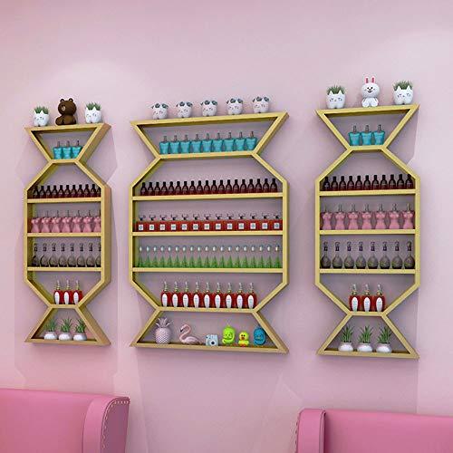 household products Schmiedeeisen Maniküre Wand mehrschichtige Lagerung Wandbehang Rack, Salon Nagellack Display Rack Kombination, Parfüm, Kosmetik, ätherische Öl Rack