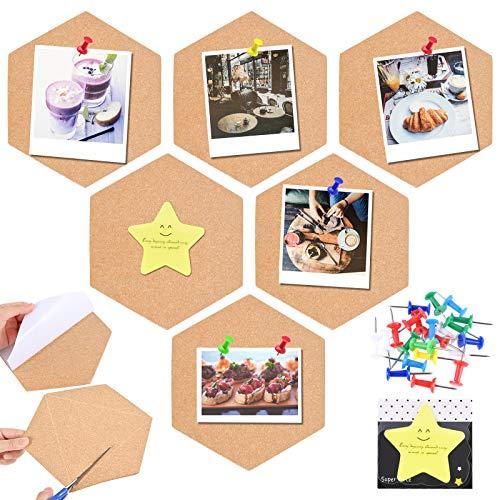GOLDGE 6pz Tablero de Corcho para DIY para Colgar Fotos, Hexágono Corcho Tablero Corcho con Pin de 20pz y 30pz Notas para Decoracion Habitacion