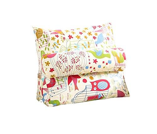 Réglage triangulaire Coussin / coussin de cale arrière, canapé-lit de bureau Toile Coussins de grand repos Coussin de soutien au cou (oiseau coloré) ( taille : 60*50*22cm )