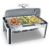 LXX 9L Chafing Dish Electrico para Buffet, Calentador de Comida para Buffet Inoxidable, Calentadores de Comida y de Platos para Bufé para Fiesta y Banquete, 600W