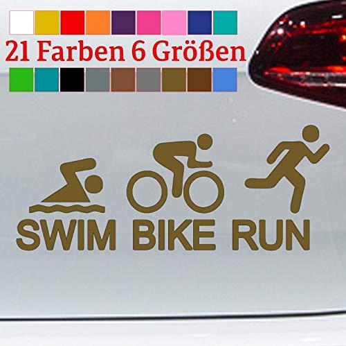 Pegatinas de vinilo para triatlón, diseño de bicicleta de montaña, juego olímpico, correr, natación, bicicleta, en 6 tamaños y 21 colores