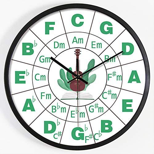 ZBBSHOP Wanduhr Wanduhr, Gitarre, Klavier, Musik, Musik, Musik, Uhr, Klavier, Stummschaltung, Uhr 30cm