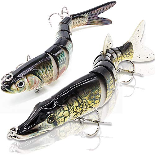 YL 0UTDOOR Fishing Bass Lures 4.9' Multi Jointed Swimbaits Topwater Life-Like Trout Swimbait Hard Baits (3PC-Combo)