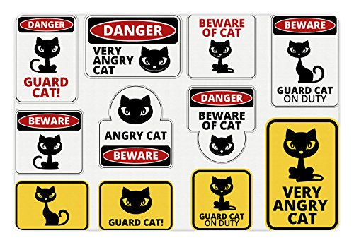 Lunarable Funny Pet Mat for Food and Water, Beware Guard Cat Signs Humorous Comic and Plates Warning Graphic, Rectangle Non-Slip Rubber Mat for Dogs and Cats, Yellow Black Red White