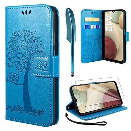 AROYI Kompatibel mit Samsung Galaxy A12 Hülle mit Panzerglas, PU Leder Flip Wallet Schutzhülle für Samsung Galaxy 12 Tasche - Blau