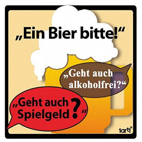1art1 Bier - EIN Bier Bitte, Alkoholfrei Poster-Sticker Tattoo Aufkleber 9 x 9 cm