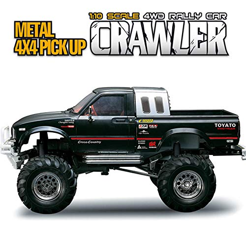 MeterMall Toys &Hobby HG P407 1/10 2.4G 4WD Rally Rc Car for TOYATO Metal 4X4 Pickup Truck Rock Crawler RTR Toy Black