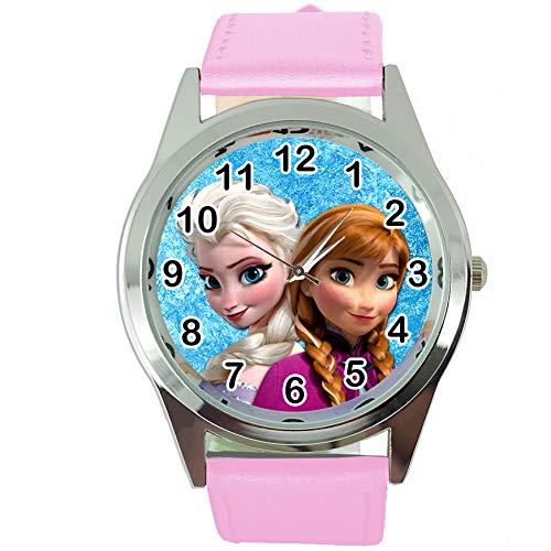 TAPORT® Damen Uhr Analog Quarzwerk mit Leder armband Frozen Elsa Anna rosa rund