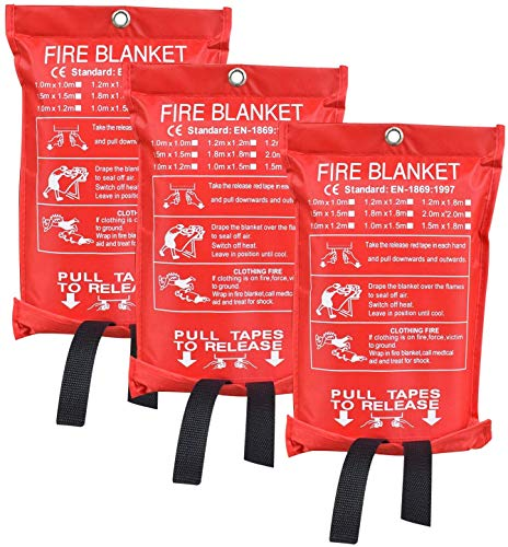 Fire Blanket Fiberglass Fire Emergency Blanket Suppression Blanket Flame Retardant Blanket Emergency Survival Safety Cover for Camping, Grilling, Kitchen Safety, Car (3)