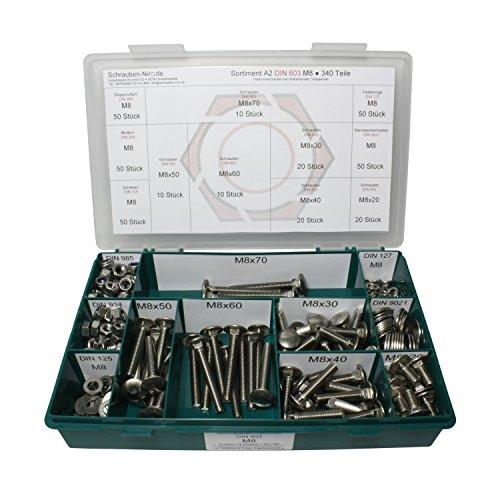 Sortiment M8 DIN 603 Edelstahl A2 (V2A) Flachrundschrauben mit Vierkantansatz (Schlossschrauben) - Set mit Schrauben, Scheiben (DIN 125, 127, 9021) + Muttern (DIN 934, 985) - 340 Teile
