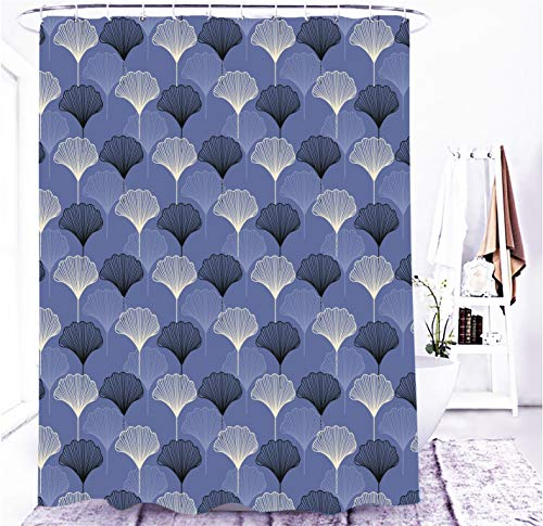 MundW DasDesign Duschvorhang grau blau Ginkgo Blatt, Badezimmer Textil Vorhang mit Antischimmel Effekt, waschbar, Shower Curtain, inkl. 12 C-Ringe, mit Gewicht unten, 180 x 200 cm
