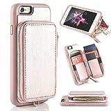 iPhone6s ケース ZVE® iPhone6ケース 背面財布型 カード&小銭入れ 耐衝撃カバー 高級PUレザー 女性人気 多機能スマホケース アイフォン6 アイフォン6sケース 4.7インチ(ローズゴールド)
