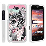 Compatible with ZTE Maven Case | ZTE Fanfare Case | ZTE Atrium Case [Slim Duo] Ultra Slim Lightweight Hard 2 Piece Cover Protector on White by TurtleArmor - Hipster Cat