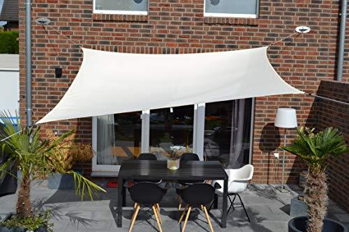 Floracord 06-77-07-38 Vierecksonnensegel mit Regenschutz 2,5 x 3 m inklusive Zubehör mit dauerelastischen Spanngurten, elfenbein, beige