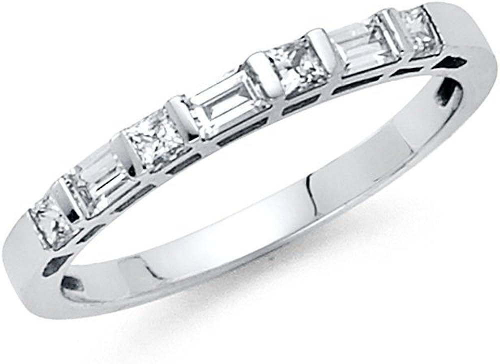 Sonia Jewels 14k White Gold Ring Cubic Zirconia CZ Ladies Anniversary Wedding Band