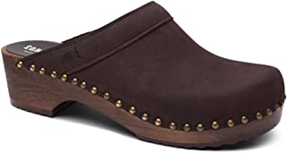 Swedish Wooden Clogs for Men with Leather Upper | Bergen