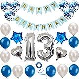 Haosell 13 Anniversaire Décoration Set Argent Bleu Décoration Anniversaire Fête d'Anniversaire Décoration Happy Birthday Bannière 13 Ans Ancien Argent Chiffres Ballons Décoration pour Fille, Garçon