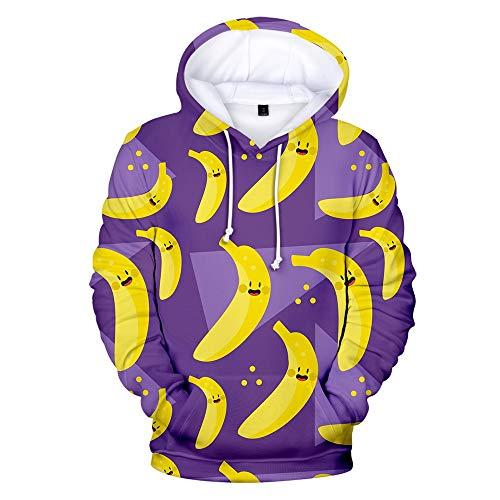 HNKPWY Lila 3D Früchte Hoodies Casual Sweatshirts Männer Frauen Mit Kapuze Gedruckt Viele Bananen Jungen Mädchen Pullover