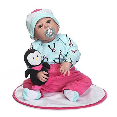 Nicery Reborn Baby Doll Puppe Harter Simulation Silikon Vinyl 22 Zoll 55 cm magnetisch Mund lebensecht lebhaft für 3 Jahre alt 3+ Junge Mädchen Spielzeug Boy Girl Toy RD56Z003BO