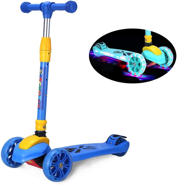 SSLHDDL 3-Rad-Roller FüR Kinder, Falt-Roller, Tri-Scooter-Push Mit Musikfunktion - Verstellbare T-Bar - Schaltet BlitzrDer Und Sicherheitsbremse FüR