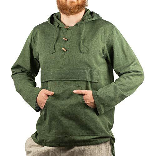 KUNST UND MAGIE Herren bunt alternativ Hoodie Fischerhemd Kapuze Kängurutasche, Größe:L, Farbe:Grün