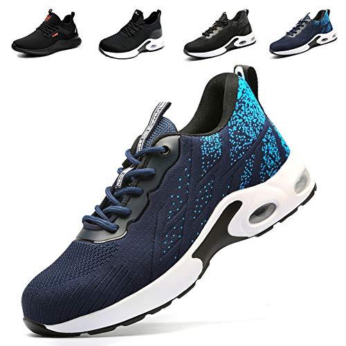 Zapatos de Seguridad Hombre Mujer Punta de Acero Zapatos de Trabajo Ligeros Comodos Zapatillas de Seguridad Calzado de Seguridad DeportivoAzul EU 42 (Tamaño de la Etiqueta 260) ✅