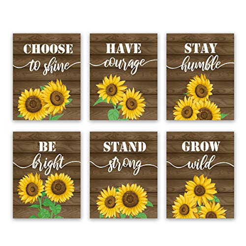 Sunflower Inspirational Quote Wall Art Print-- Blooming Yellow Flower Saying Canvas Print for Farmhouse (8'X10'X6pcs, Unframe )Classroom or Office Decor