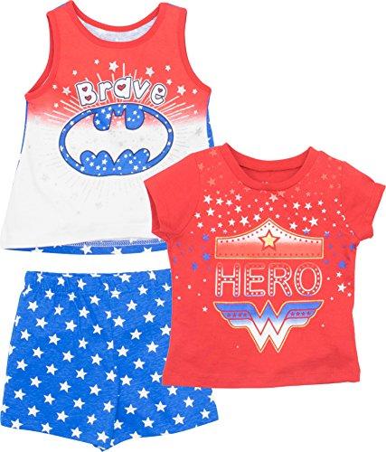Justice League Batgirl Wonder Woman Toddler Girls' T-Shirt Tank Top & Shorts Set 4T