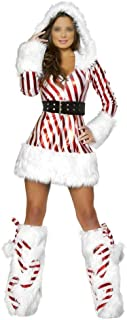 New New Year Party Dress Uniforms Red and White Striped Christmas Party (Color : A, Size : One Size)
