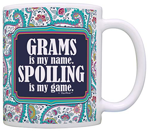 Tazza Mug Tazza Mug Regalo per nonna Grams è il mio nome Spoiling è il mio gioco Regalo Tazza da caffè Tazza da tè Paisley 330Ml