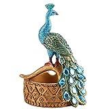 Gafas cigarro Decoración LYZ Ash cubetas Individuales de Resina Creativa Artesanal Ornamento, Cenicero Retro del Pavo Real del Estilo Estilo