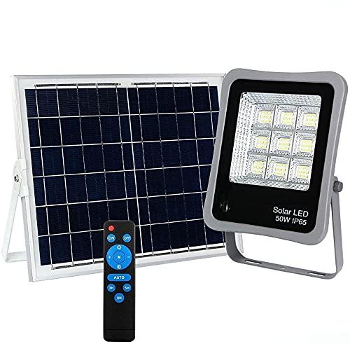 Foco Proyector Solar LED Regulable con Mando a Distancia, Luz Exterior Dimmable, iluminación solar IP65, Luz Blanca 6000K, Batería 13 horas, CHIP Bridgelux (50)
