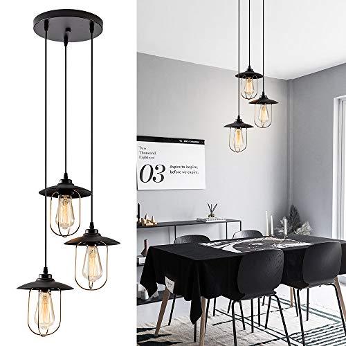 Mini Metalen Draad Schaduw Hanger Licht, Industriële Drop Hangende Licht voor Keuken Eiland, Eetkamer, Café (Lamp NIET inbegrepen)(3-Licht)