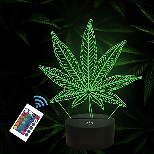 3D Night Lights, Cannabis Leaf Illusion Lamp with Remote Control 16 Colors Changing Table Desk Bedroom Decor Optical Home Room Store Decoration