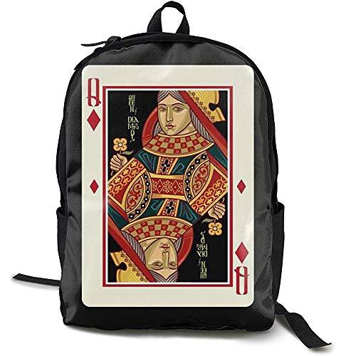 Boekentas, Reizen Rugzak Grote Luiertas - Queen of Shape Poker Card Rugzak School Rugzak voor Vrouwen & Mannen