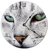 DKISEE Orologio da parete con gatto bianco – Orologio da parete – Silenzioso non ticchettio in legno decorativo rotondo da parete per casa, ufficio, scuola, decorazione orologio da 30,5 cm – PT669