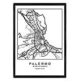 Nacnic Blade Palermo Stadtplan nordischen Stil schwarz und