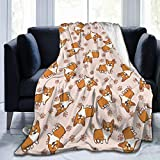 Delerain Corgi Dogs Soft Throw Blanket 40'x50' Lightweight Paw Print Flannel Fleece Blanket for Couch Bed Sofa Travelling Camping for Kids Adults