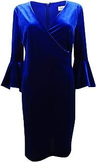 Calvin Klein Womens Velvet Flare Sleeves Sheath Dress