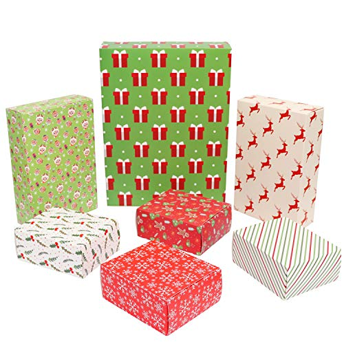Belle Vous Christmas Gift Boxes (7 Pack) - Flat Gift Box 3 Different Sizes, Christmas Theme Cardboard Paper Gift Box for Xmas Presents Cookies Candies Treats Cosmetics and Accessories