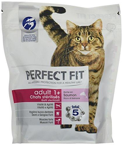 Perfektes trockenes Katzenfutter für erwachsene sterilisierte Katzen, reich an Lachs, 6 Beutel mit 400 g pro Stück.