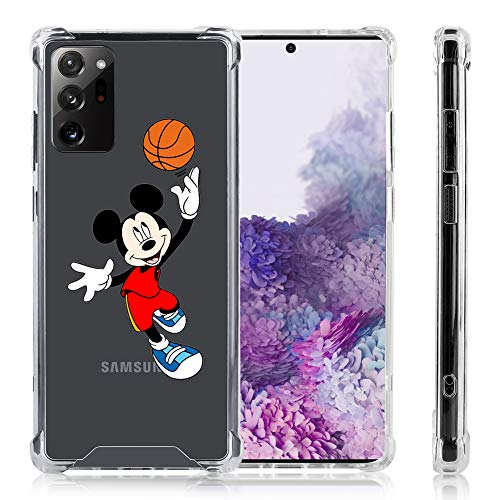 DISNEY COLLECTION Samsung Galaxy Note 20 Ultra Case Clear Mickey Playing Basketball Reinforced TPU Bumper Corners Anti-Scratch Shockproof Protective Case for Samsung Galaxy Note 20 Ultra 6.9 Inch
