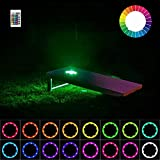 heartbeats Cornhole Lights, LED Ring kit,16 Colors Multicolor Changing Type,Remote Control, Set of 2 pcs, Board Hole Lights, Toss Bean Bag Game Lights Backyard Board Game Lights,Tailgate Game