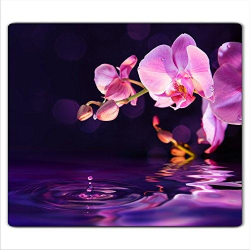 decorwelt | Herdabdeckplatte 60x52 cm Ceranfeldabdeckung 1-Teilig Universal Elektroherd Induktion für Kochplatten Herdschutz Deko Schneidebrett Sicherheitsglas Spritzschutz Glas Orchidee